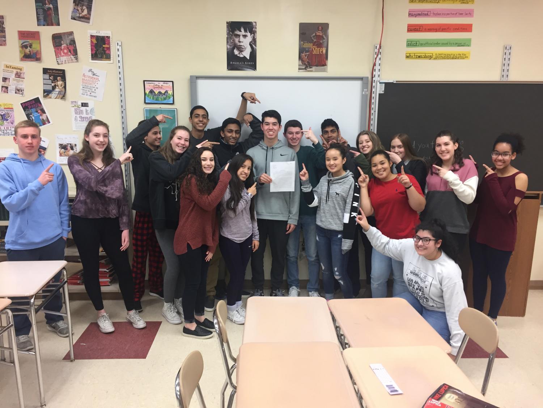 Ms. Rivelli's class celebrates Tyler Jacklitsch's award winning essay.