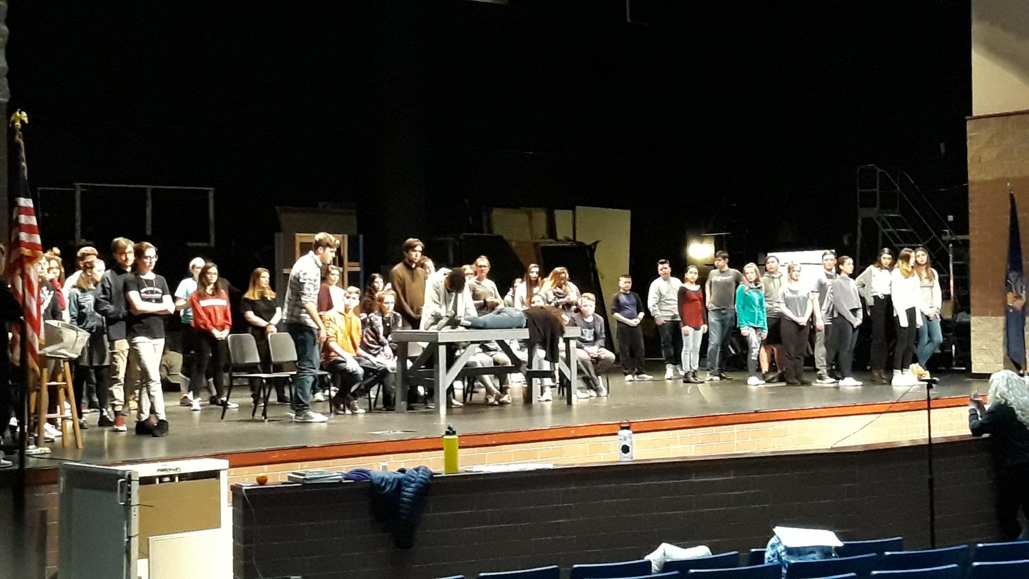 The spring musical had rehearsal on Wednesday, January 16th. They are rehearsing a scene from The Addams Family with the whole cast on stage.
