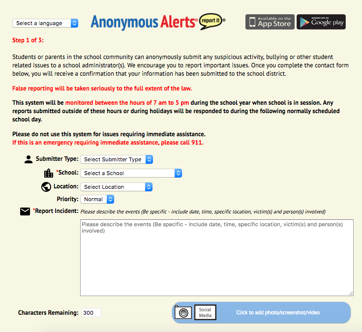 Monroe-Woodbury offers Anonymous Alerts service for students to report issues