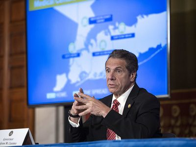 Governor Andrew M. Cuomo provides a coronavirus update during a press conference in the Red Room at the State Capitol.